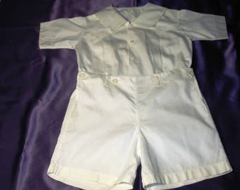1930s white cotton toddler boys button on short set. Probably about a size 3.  No holes.