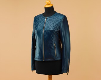 Quilted jacket, leather jacket, women jacket, stylish jacket, winter jacket, fashion jacket, modern jacket, waisted jacket