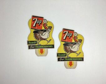 Vintage 1948 7UP Thanksgiving Turkey  Bottle Topper Advertisings Original New Old Stock 7UP Fresh Up for Thanksgiving Turkey Vintage Soda