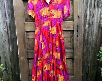 Vintage 90's Magenta, Red, and Gold Rose Floral Print Rayon Petite Maxi Dress by Impressions size medium