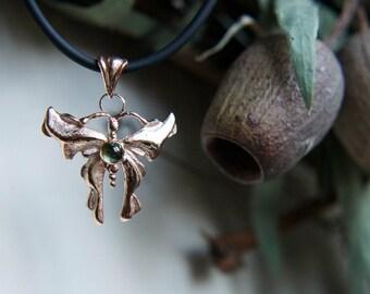 Gold butterfly pendant, green tourmaline pendant, 9K gold pendant, butterfly jewelry, unique pendant, nature jewelry, tourmaline jewelry