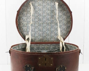 French Antiques Round Hat Box, Vintage Hat Box, French Hat Box Luggage, Antique French Luggage, Vintage Hat Storage, Antique Hat Holder E456