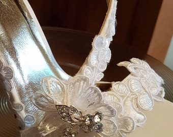 Bridal white high heeled sandals with lace and diamante designer 'Isabella' shoes