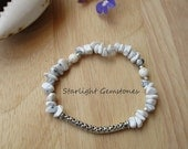 Boho Chic Beach Inspired White Howlite Gemstone Chip Bracelet with Hill Tribe Silver Spacers & Pewter Curved Spacer