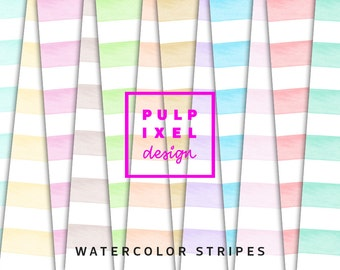 Watercolor Stripes // Watercolour Digital Paper // Pastel Watercolor Stripes On White Background // Instant Download // Commercial Use