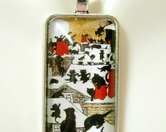 Cats on the rooftops pendant and chain - CAP16-104