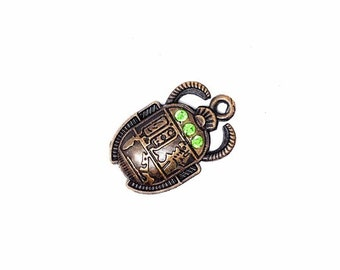 2 pcs + Amulet charm copper scarab égyptien, bug insecte pendentif With Rhinestones  Metal Charms, Jewelry Making