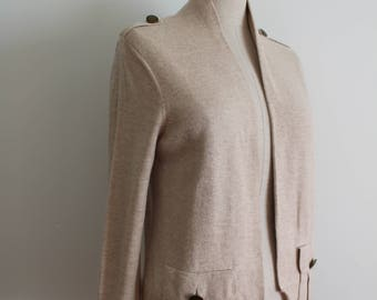 Beige Tan Military Sweater