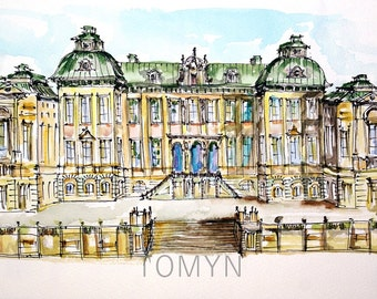 SWEDEN ART. STOCKHOLM. Original watercolor painting. The Drottningholm Palace.