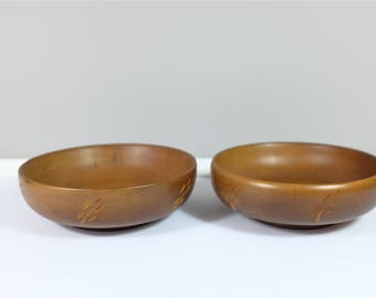 Set of two vintage Baribocraft wood bowls - Wood bowls by Baribocraft - made in Lévis, Quebec, Canada - Maple bowls from Québec