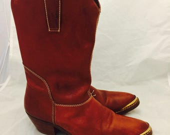 80s Oxblood Leather Western Boots Stacked Wood Heel Size 7.5 1/2 8 38 39 by Giorgio Brutini