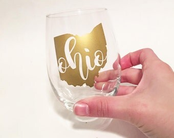 Custom City / State Outline with State Initials Abbreviation in Script Font Stemless Wine Glasses - Gold - Ohio