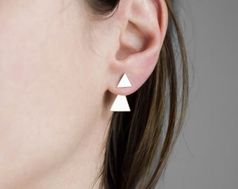 Sterling silver ear jackets, triangle ear jackets, triangle post earrings, stud earrings, minimalist earrings, geometric earrings