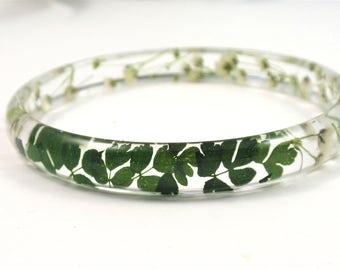 Botanical Bracelet, Resin Bangle Bracelet, Chunky bangle, Real flowers Bracelet, Plant jewelry, Flower resin jewelry, Size L