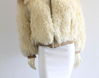 Stunning 70's Vintage Long Sheep Shearling Bomber Jacket