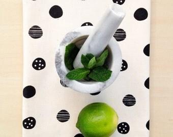 "Tea towel / naturel cotton handprinted / polka dot graphic pattern / 16.75""x21"" / collaboration MAP & LPB / made in quebec"