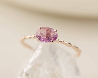 Unheated natural pink sapphire ring in 14k rose gold, oval pink sapphire ring, dainty delicate thin rose gold band, Pink sapphire, can-r101