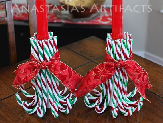Pair reusable candy cane candle holders choose your ribbon for Candy cane holder candle centerpiece