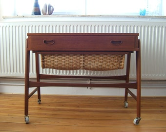 Danish Modern Teak Sewing Table / Cart - Crafts Trolley - Mid Century - 60s