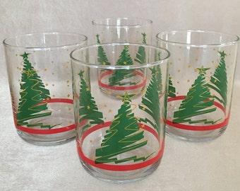 Holiday Glassware, Christmas Barware, Trees and Stars, Holiday Double Rocks, Holiday Kitchen, Drinking Glasses, Gold Stars Barware, Abstract