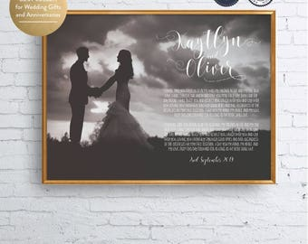 Wedding Vow Art Framed Wedding Vows Wedding Vow Keepsake Anniversary Gift for Groom Gift for Bride Printable Digital — Kaytlyn Collection 02