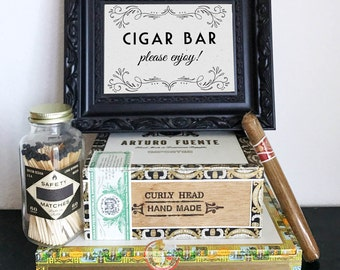 Printable Cigar Bar Sign - Please Enjoy! Wedding, Reception, Roaring 20s, Great Gatsby Party, DIY Instant Download Typography Print