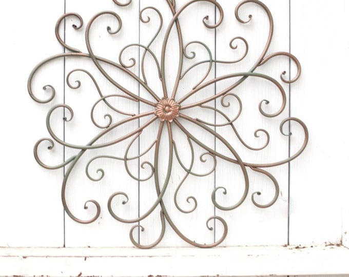 flower metal wall decor yellow and distressed