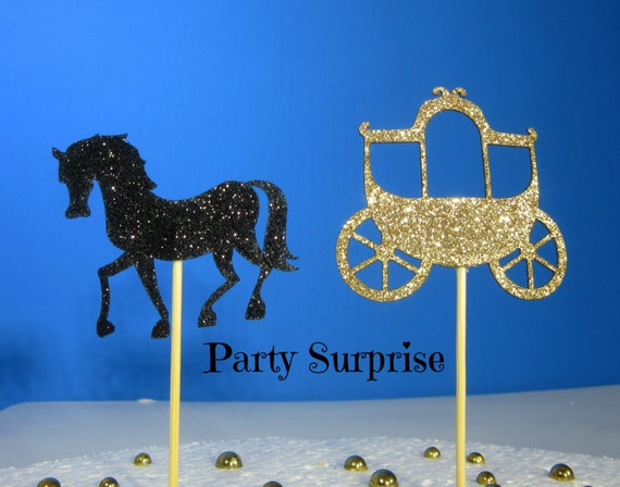 Princess fairytale horse and carriage cupcake toppers