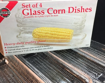 Vintage Glass Corn On The Cob Serving Dishes