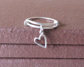 Bangle Ring Expandable Sterling Silver Open Heart Ring