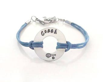 Tennis Coach Hand Stamped Bracelet or Anklet YOU Select Your Cord Color