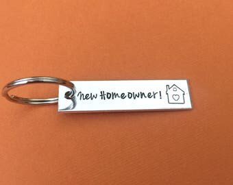 New Homeowner Keychain, Housewarming Gift, New Home, Realtor Gift, Hand Stamped Keychain, House Keychain, Closing Gift, Gift For Her and Him