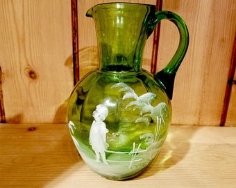 Hand Blown and Enameled Mary Gregory Glass circa 1930s