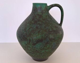 Fritz Van Daalen Keramik, Handled Vase, Nr 102/22, Green, Blue, Black, West German Pottery, 1960s