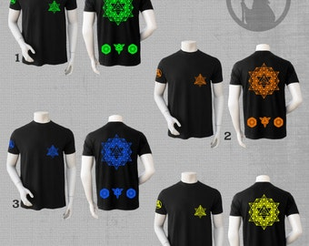 COSMOS Tshirt  with  UV-active or velvet  print 64Tetrahedron grid-Festival Wear-psychedelic clothing-Psy clothing-Burning Man