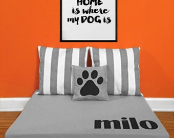 Custom Dog Bed - Modern Monogrammed Raised Dog Beds - FREE SHIIPPING on Personalized Pet Beds for Dogs Cats