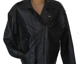 The Limited Motorcycle Moto Jacket Black Leather Belted Zippered Sleeves