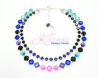 RAVE Mixed Size Crystal Statement Necklace Made With Swarovski Elements *Pick Your Finish *Karnas Design Studio *Free Shipping