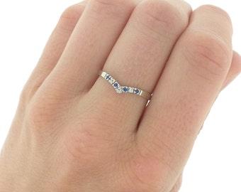 Vintage Sapphire Diamond Wishbone Engagement Ring