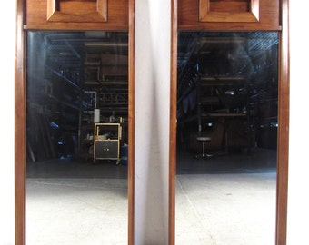 Pair Mid-Century Modern Sculpted Front Walnut Mirrors (3986)JR