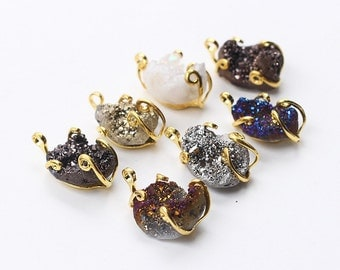 Rough Druzy Pendants -- With Electroplated Gold Edge Druzzy Drusy Geode Charms Wholesale Supplies Handmade YHA-009