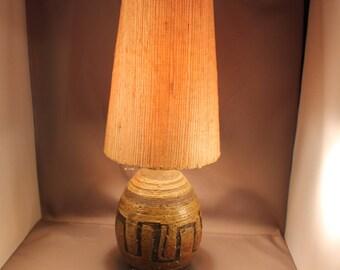 50s 60s Vintage Table Lamp Fat Lava Stoneware Ceramic Base Abstract Decor Organic Textile Lamp Shade Mid Century Modern Design Arts & Crafts