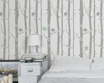 Maple Tree wall stencil - Decorative Scandinavian stencils for walls - Reusable stencils and easy DIY home decor