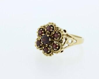 14K Gold Flower Garnet Ring
