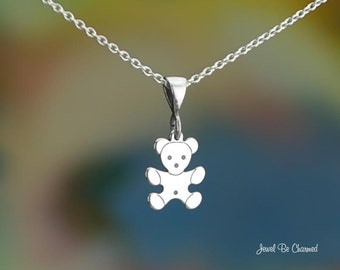 "Sterling Silver Simple Teddy Bear Necklace 16-24"" or Pendant Only .925"