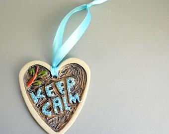 Heart hanging tree ornament , Stocking filling Stocking stuffer , Blue and black Christmas ornament hanger , Keep calm decoration , Ceramics