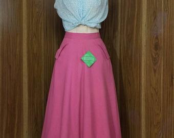 1950s Pink Skirt   50s Skirt   Pink Skirt   Full Skirt   NOS   Deadstock   1950s Skirt   Pink Full Skirt   50s Full Skirt   New Look