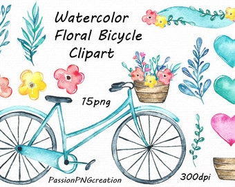 Watercolor Floral Bicycle Clipart, card making, DIY, watercolour Bicycle clip art, PNG, Digital watercolor, For Personal and Commercial use