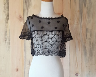 1920s vintage crop top | sheer black lace antique top | boudoir top