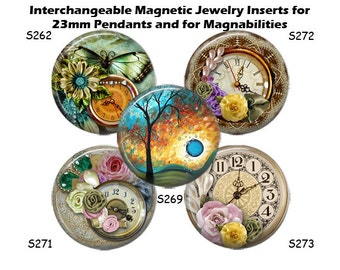 "Jewelry Inserts, Magnet Inserts for Magnabilities, Interchangeable Magnetic Inserts for 23mm Pendants, 1"" Button Inserts"